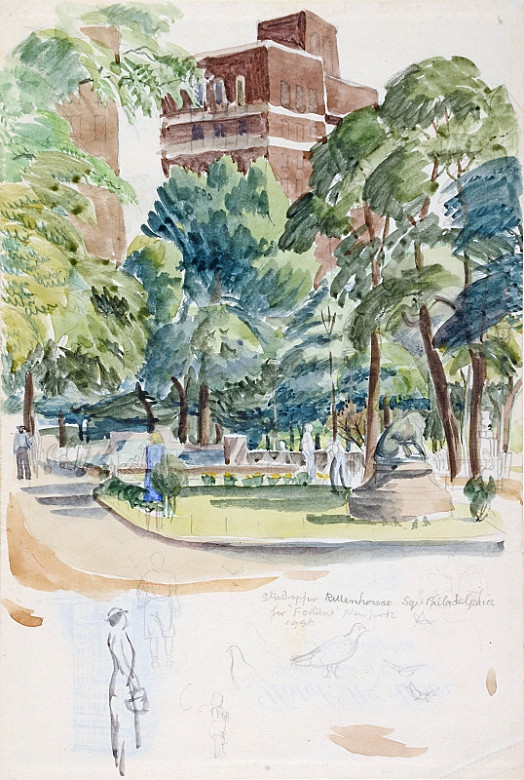Study For Rittenhouse Square, Philadelphia, For 'Fortune' New York