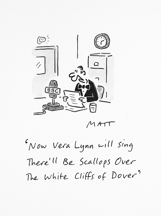 Now Vera Lynn Will Sing There'll Be Scallops over the White Cliffs of Dover