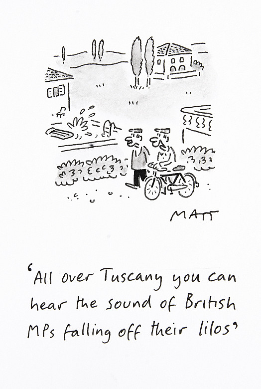All over Tuscany you can hear the sound of British MPs falling off their lilos