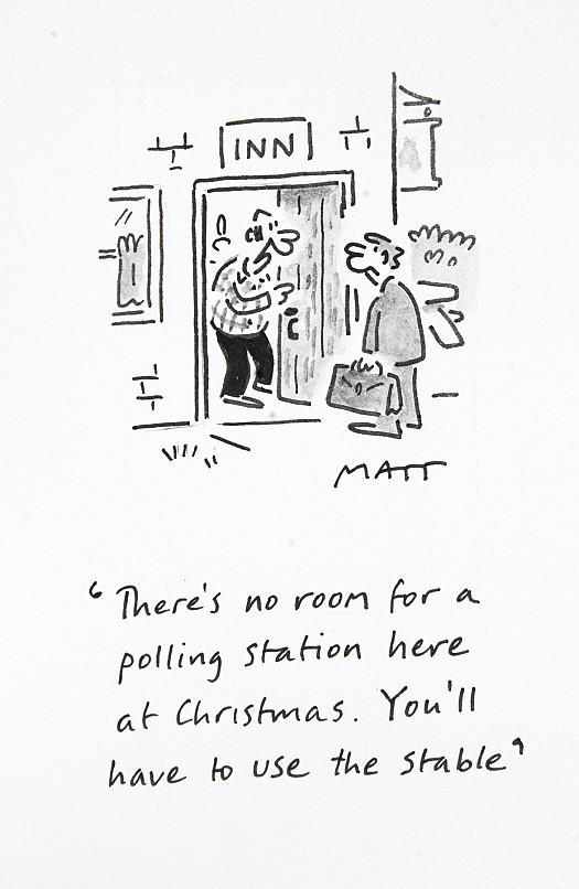 There's no room for a polling station here at Christmas. You'll have to use the stable
