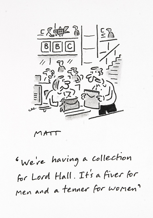 We're having a collection for Lord Hall. It's a fiver for men and a tenner for women