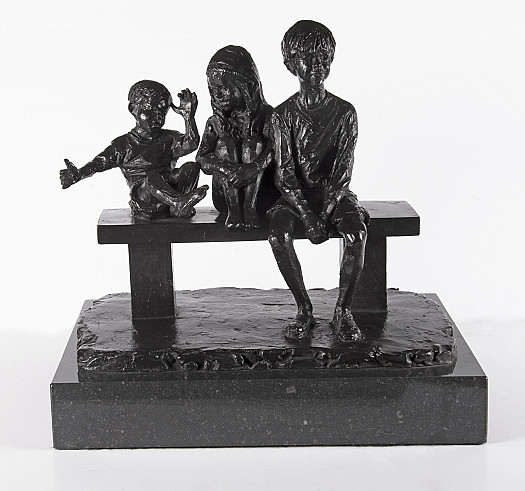 Three Children on a Bench