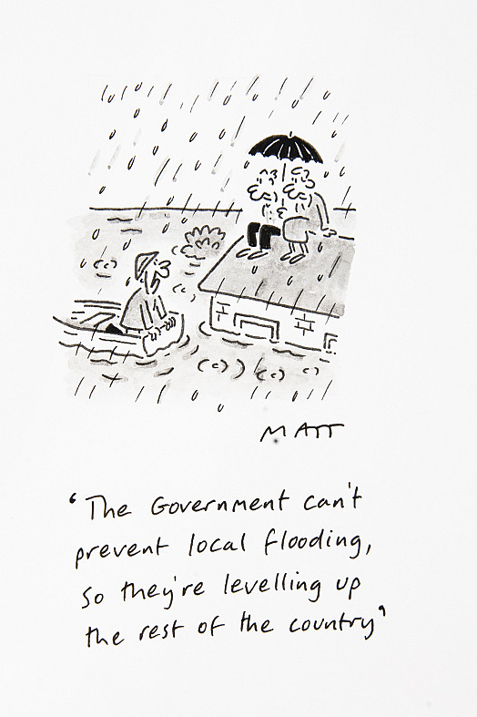 The Government can't prevent local flooding, so they're levelling up the rest of the country