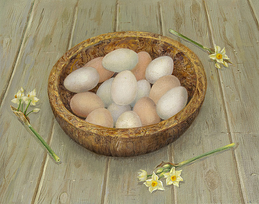Eggs In Walnut Wood Bowl
