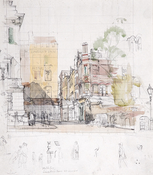 Sketch For Lincolns Inn N E Corner