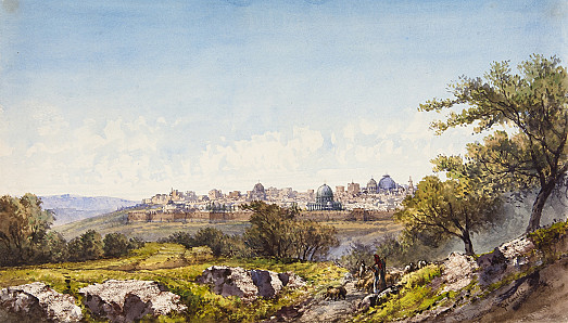 Palestine: View of Jerusalem with Mount Moriah, the Holy Sepulchre and Mount Zion across the Cedron (Kidron) Valley from the Mount of Olives