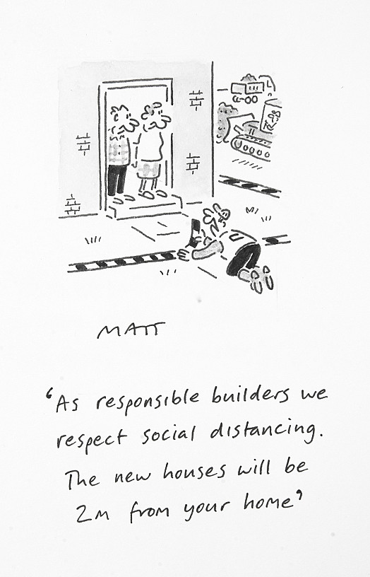 As responsible builders we respect social distancing. The new houses will be 2m from your home