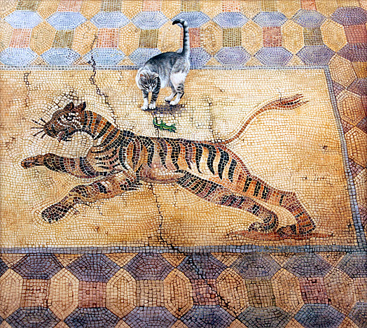 Cat with Lizard and Tiger