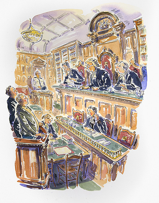 Pat stared up at the bench and looked at the three magistrates