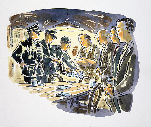 'Please be seated, Mr Mayor, gentlemen,' said the commandant as Captain Hoffmann put a bottle of wine  on the centre of the table