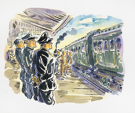Colonel Müller and his ADC marched into the station and came to a halt in the centre of the platform