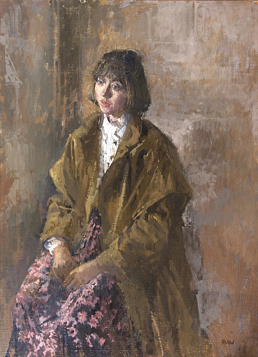 Portrait of a Young Woman Wearing a Brown Coat