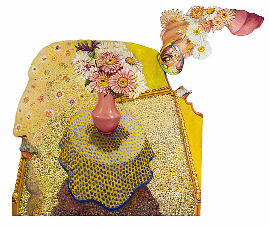 Pink Vase of Flowers On a Provencal Cloth, a Head Full of Flowers II