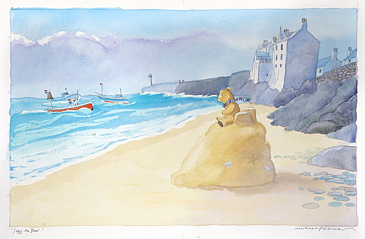 The sea grew louder as it came closer but the little bear felt safe on his sandcastle