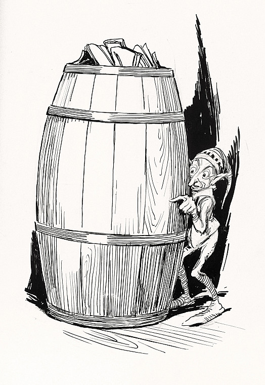 The Goblin Hides Behind the Barrel