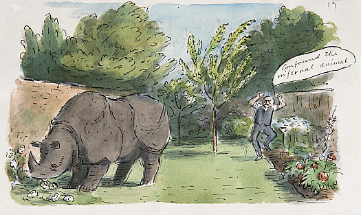 The only trouble was that the Rhinoceros was very fond of eating dahlias