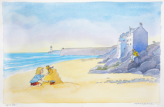 The little girl built a sandcastle and placed her favourite teddy bear on top, so he could look at the rocks and the blue-green sea