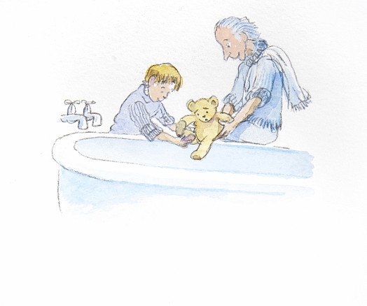 Jack and his grandfather took the little bear home and gave him a nice warm soapy bath