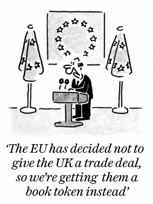 The EU has decided not to give the UK a trade deal, so we're getting them a book token instead