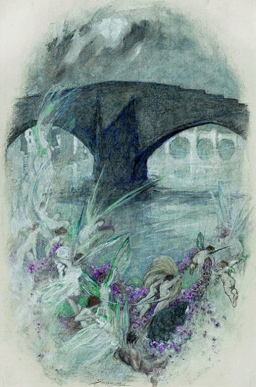 The Fairies Night Flight by Bridge and River