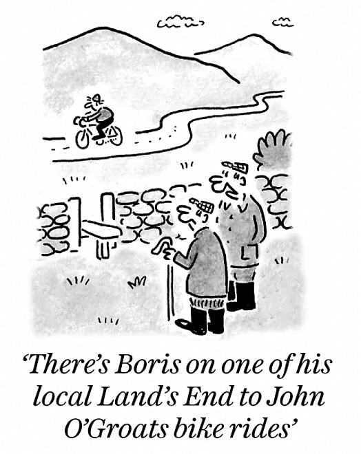 There's Boris on one of his local Land's End to John O'Groats bike rides