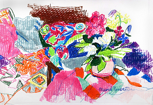 Vase of Flowers with Cushions