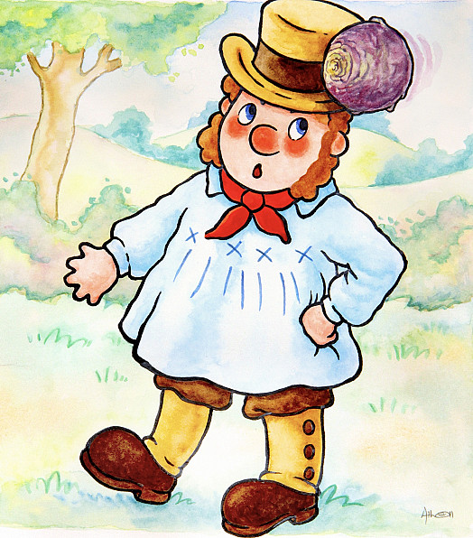 Noddy Didn't See Him, and Flung a Smelly Old Turnip At the Goat. It Missed Him and Hit the Surprised Farmer.