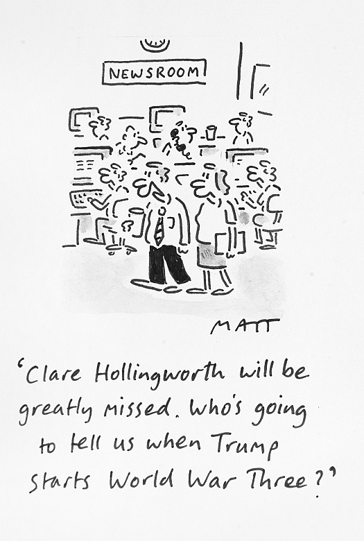 Clare Hollingworth Will Be Greatly Missed. Who's Going to Tell UsWhen Trump Starts World War Three?