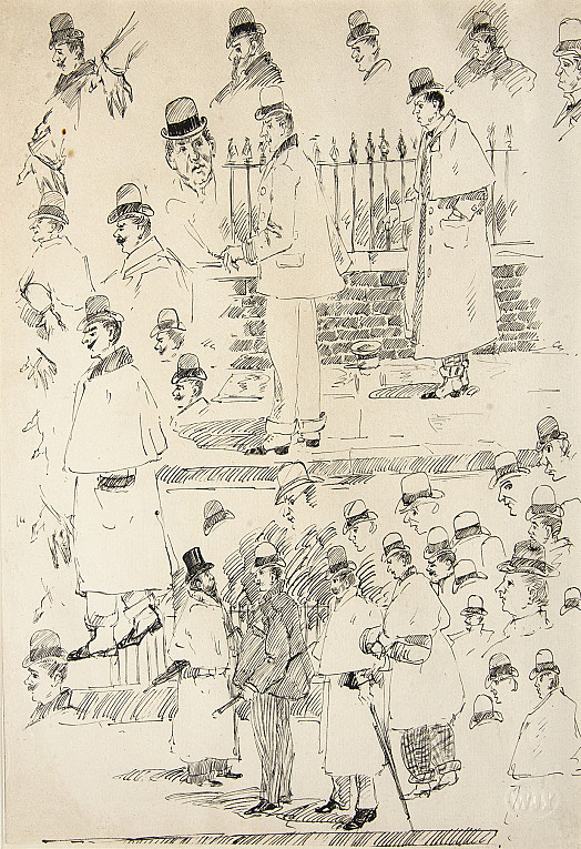 Caricature Sketches of Men In Bowler Hats