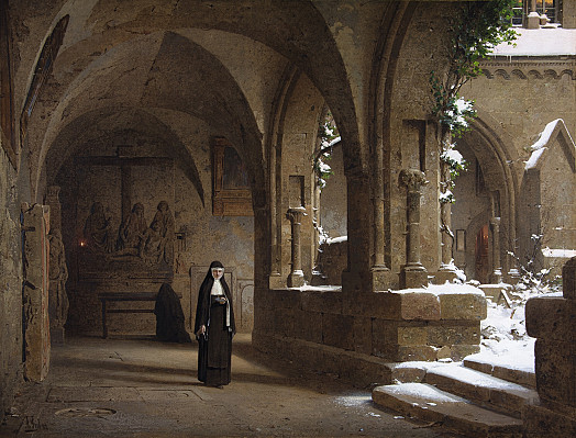 Nuns in the Cloister at Halberstadt Cathedral with Snow