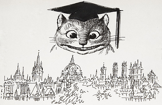 The Cheshire Cat, an Oxford Eccentric Himself, Still Murmurs, Dreamlike Through the Pinnacles