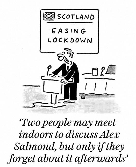 Two people may meet indoors to discuss Alex Salmond, but only if they forget about it afterwards