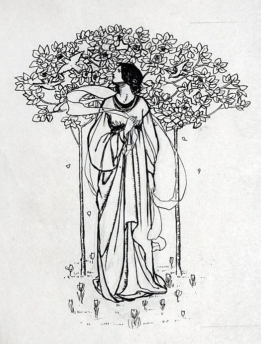 Lady Among Magnolia and Crocuses