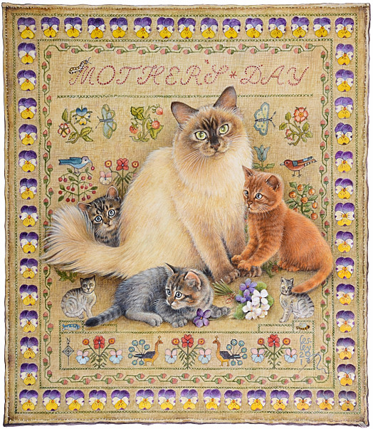 Mother's Day with Odette and Her Kittens On a Needlework Sampler
