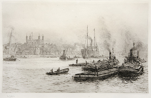 Shipping on the Thames Before the Tower of London