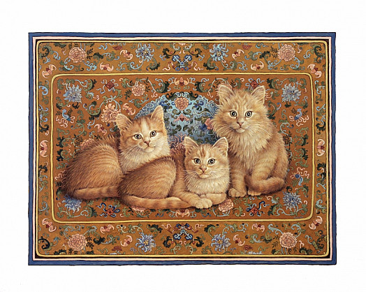 Catkin's Grandkittens On Eighteenth Century Chinese Silk, Quing Dynasty
