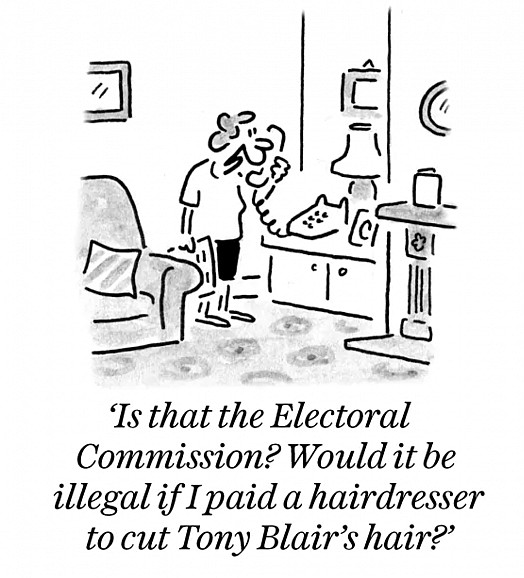 Is that the Electoral Commission? Would it be illegal if I paid a hairdresser to cut Tony Blair's hair?