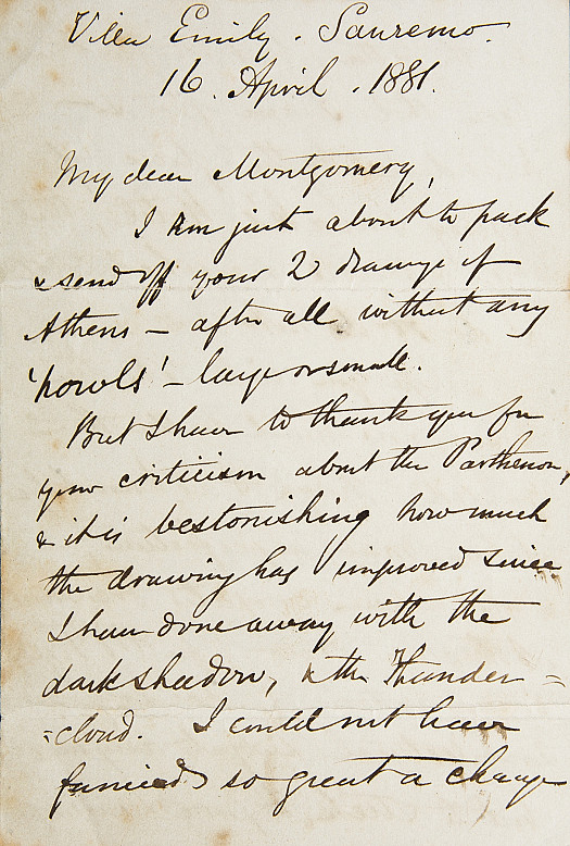 Letter to 'My dear Montgomery'