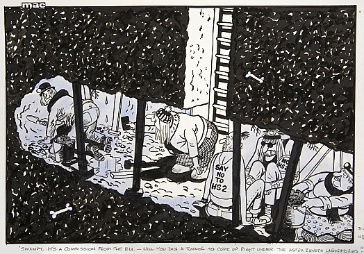 Swampy, it's a commission from the ELI. - Will you dig a tunnel to come up right under the AstraZeneca laboratories?