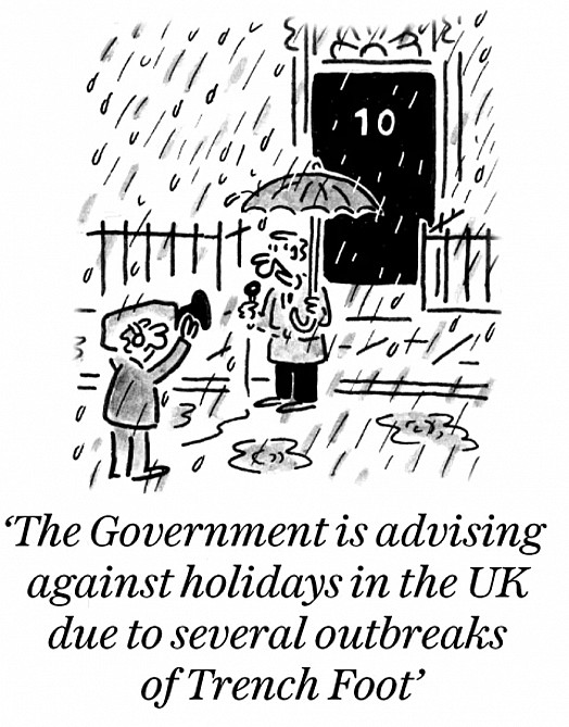 The government is advising against holidays in the UK due to several outbreaks of Trench Foot