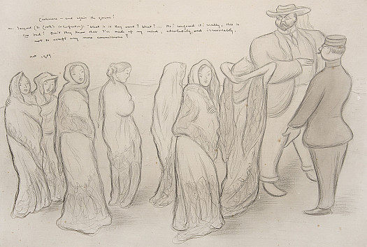 Cashmere –and again the queue!Mr Sargent (to Cook's Interpreter): 'What is it they want? What? ... No! Confound it: really, this is too bad! Don't they know I've made up my mind, absolutely and irrevocably, not to accept any more commissions?'