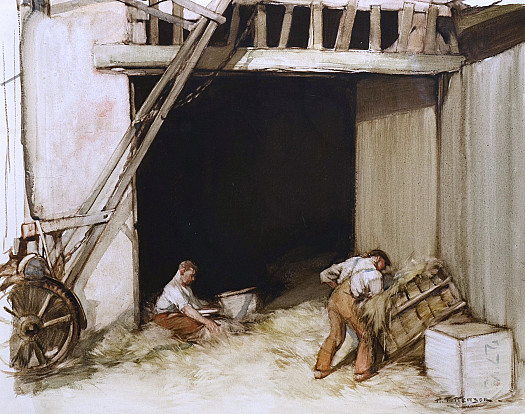 Farm Workers in a Barn
