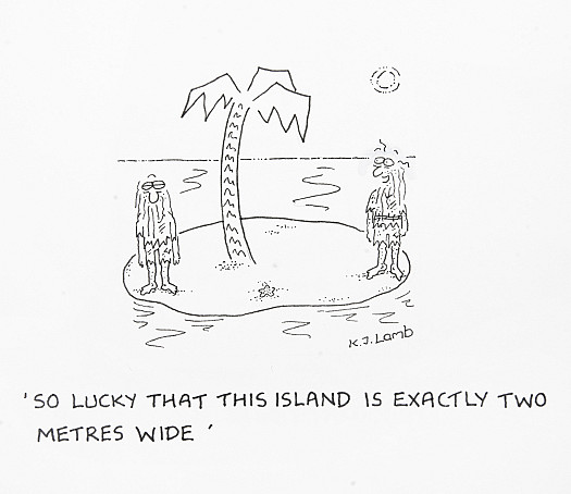 So lucky that this island is exactly two metres wide
