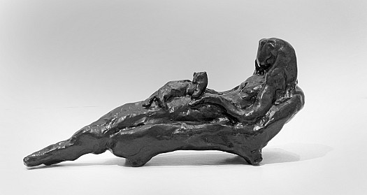 Reclining Woman with a Cat