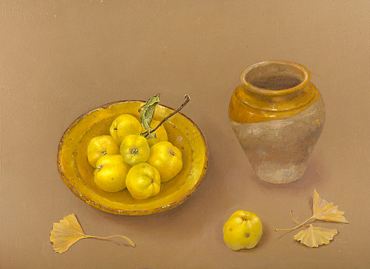 Quinces and Gingko Leaves