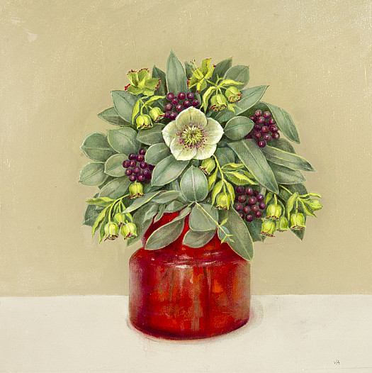 Hellebore in a Red Glass Vase