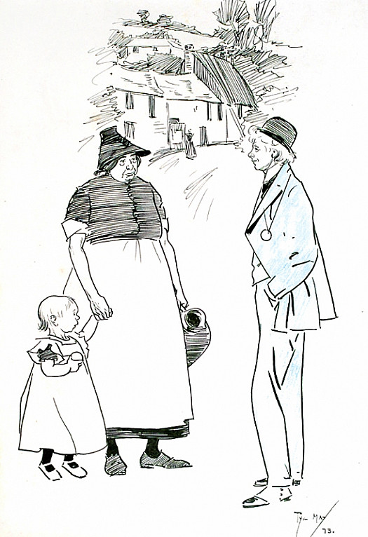 Tourist: 'Fine Head That Child's Got. He'll Be a Gladstone.'Fond Mother: 'Drat the Man! That Can't Be: His Father's a Conservative'