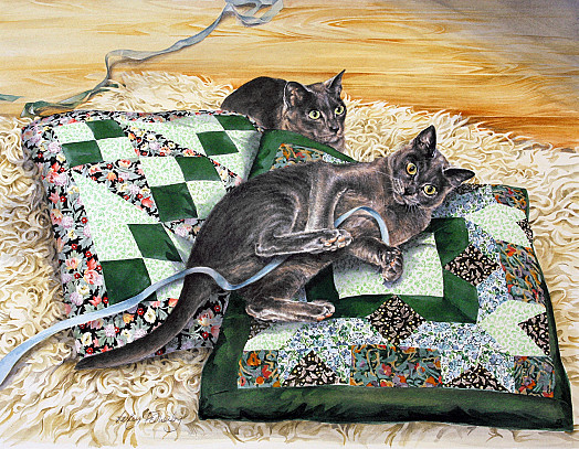 Cats with Blue Ribbons