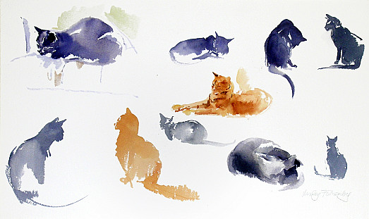 Studies of Blue and Ginger Cats
