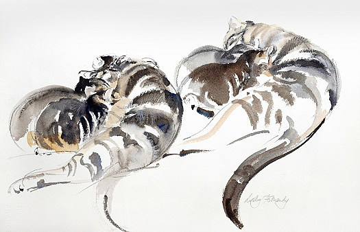 Mother and Kittens – Two Studies